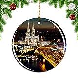 Weekino Deutschland Hohenzollernbrücke Köln Dreieck Köln Weihnachtsdekoration Christbaumkugel Hängender Weihnachtsbaum Anhänger Dekor City Travel Souvenir Collection Porzellan 2,85 Zoll
