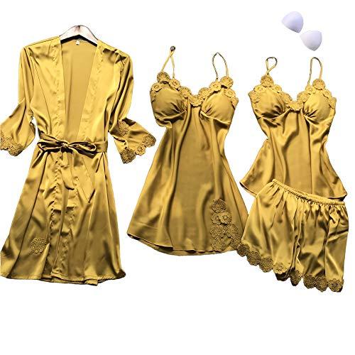 SAPJON Women's 4pcs Silk Satin Pajama Set Sexy Cami Top Nightgown Lace Sleepwear Robe Sets Nightdress with Chest Pads Yellow