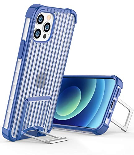 OCYCLONE [Suitcase Series] for iPhone 12 Pro Case/iPhone 12 Case, [Two-Way Stand] Anti-Slip Anti-Scratch Shockproof Protective Phone Case with Kickstand for iPhone 12/12 Pro 5G 6.1 inch - Blue