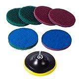 SNOWINSPRING Kit de Limpieza de Almohadillas de Fregado para Fregadoras Azulejos y Cepillos EléCtricos de 5 Pulgadas,Herramienta de Limpieza DoméStica de Alta Resistencia(Taladro NO Incluido)