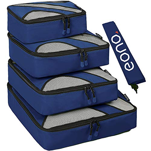 Eono by Amazon - 5 Set Packing Cubes, 4 Various Sizes Travel Luggage Packing Organizers and 1 Laundry Bag, Navy