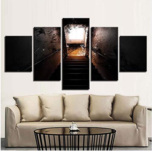FCXBQ Wandkunst Bilder Leinwand Hd-Drucke Wohnzimmer 5 Stücke Licht Der Abstrakten Geister Treppe Gemälde Poster Wohnkultur Kein Rahmen