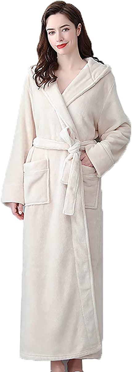 Thickened and Long Bathrobes Female Winter Coral Fleece Men's Hooded Bathrobe Couple Hooded Flannel Nightgown