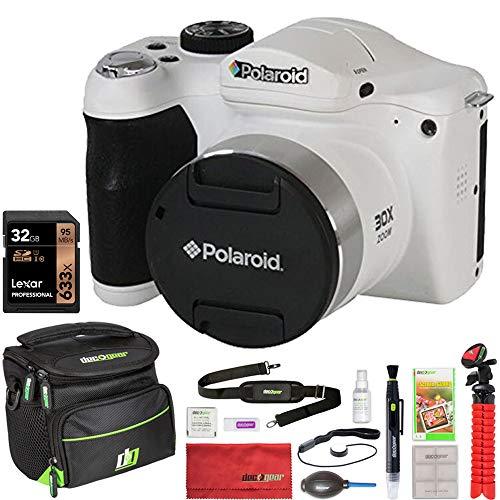 Vivitar IE3035-WHT-STK-4 IE3035 18MP Bridge Camera (White) Bundle with Lexar 32GB Memory Card, Deco Gear Camera Bag, Lens Blower, Lens Pen, 12inch Tripod, Cleaning Wipes, Spray Bottle & Card Reader