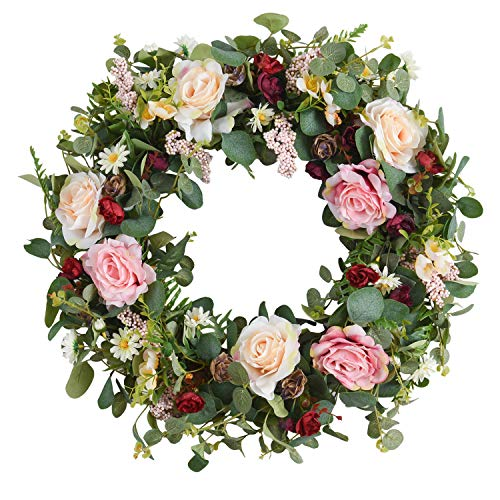 WANNA-CUL 24 Inch Spring Artificial Rose Flower Wreath for Front Door ,Pink and Wine Red Floral Door Wreath for Mother's Day with Eucalyptus Leaves for Wedding, Wall, Home Decorations