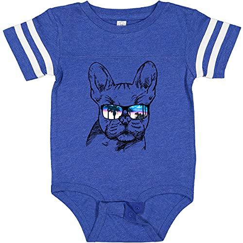inktastic French Bulldog Infant Creeper Newborn Football Blue and White 2a719