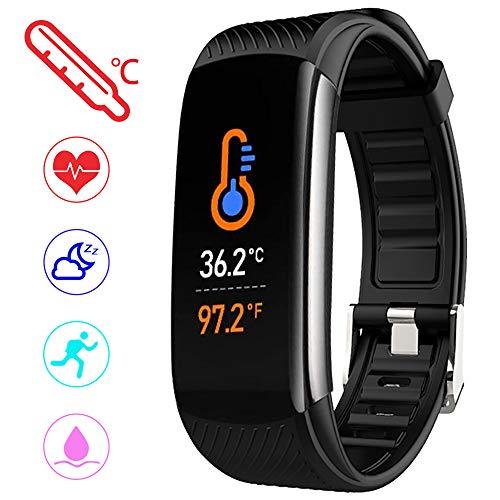 PYBBO Monitor de fitness con temperatura corporal y presión arterial, oxígeno y frecuencia cardíaca, monitor de sueño… 1