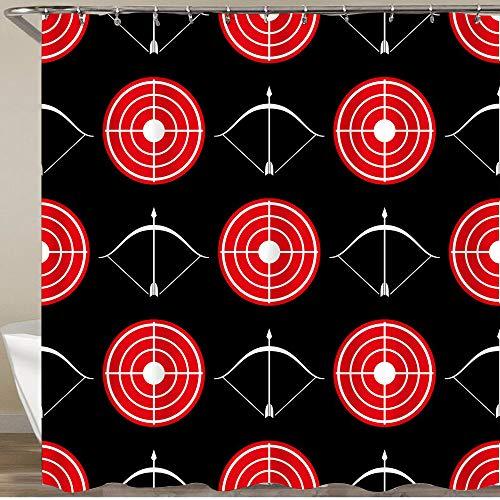 FOURFOOL Duschvorhang,Bogenschießen Rotes Ziel,Wasserfeste Bad Vorhang aus Polyestergewebe mit 12 Haken...