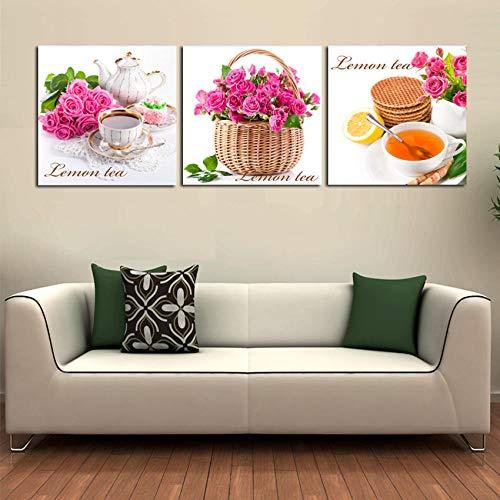 aoyukf 3 Panels Moderne Gemälde Zeitgenössische Wandkunst Bilder Rote Rose Blume Und Zitrone Tee Gemälde Auf Leinwand Dekor Gedruckt-Rahmenlos-60cmx60cmx3