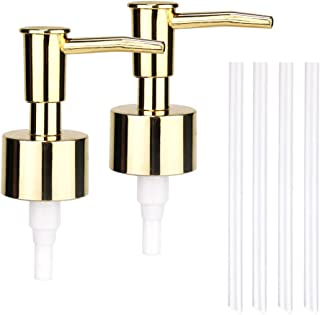 JYXR Lotion and Soap Dispenser Pump 2Pack,Replacement Pumps for Your Bottles,Include 4 Four Inch Tube(Golden)
