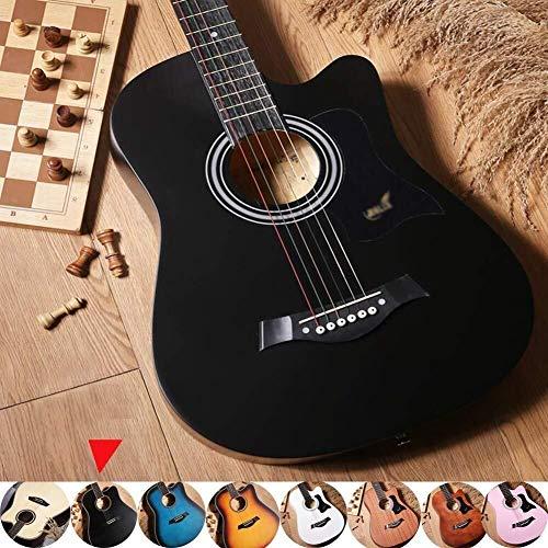 Akoestische gitaar Akoestische gitaar Planken beginnersniveau Cutaway Dreadnought volle toon muziekinstrument met waterdichte behuizing, riem, tuner en Pick, 8 kleuren Full size stalen snarige akoesti