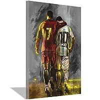 サッカー選手アート写真ポスターとキャンバスにプリントホームベッドルームリビングルームオフィス装飾壁画