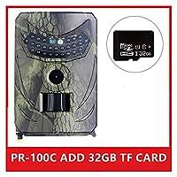 隠しカメラ野生生物監視のために 屋外トレイルカメラ1.2MP 1080P HD野生動物カメラ防水野生動物モニターカムナイトビジョン写真トラップ (Color : PR-100C ADD 32GB)