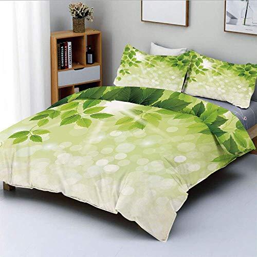 Juego de funda nórdica, rama de verano, primavera, hojas, follaje sobre fondo abstracto, juego de cama decorativo decorativo de 3 piezas con 2 fundas de almohada, verde bosque, verde claro y verde man