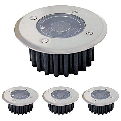 Grafner® 4er Set Solar LED Bodenstrahler | rund | High-Power LED | Bodenleuchte Bodeneinbaustrahler Bodenlampe