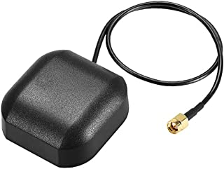 uxcell GPS Active Antenna Compatible with Beidou GNSS MMCX Male Plug 90-Degree 42dB Aerial Connector Cable with Magnetic Mount 1 Meters Wire L