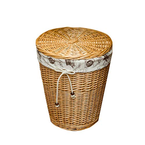 Shengluu Cesta de almacenamiento con tapa, caja de almacenamiento de mimbre, cesta de almacenamiento de escritorio, caja de acabados, caja de desechos, tela de tejido (color: C, tamaño: mediano)