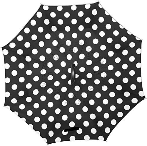 Onled Regenschirm, doppelschichtig, gepunktet, Schwarz / Weiß