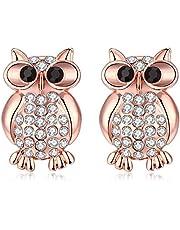 Women's Diamond earrings Rose Gold Owl Stud earrings