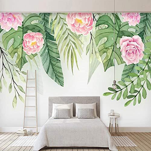 asfdgkwejd Mural gigante 130x80CM Pintado a mano hojas verdes flores pastoral. No tejido Premium Art Print Fleece Mural de pared Decoración Póster Imagen Diseño moderno