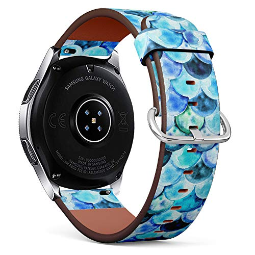 S-Type Leather Bracelet Watch Band Strap Replacement Wristband Compatible with Samsung Galaxy Watch 42mm / 46mm - Watercolor?Mermaid Scale Pattern