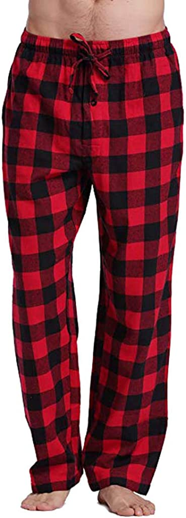 Men's Casual Wide Leg Sleep Pants Lounge Pajama Pant for Men Plaid Trousers