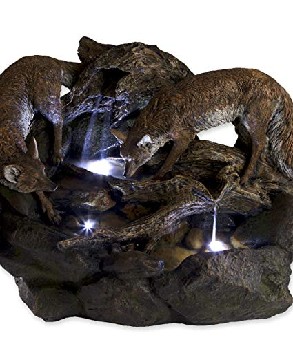 Wind & Weather Lighted Foxes Fountain