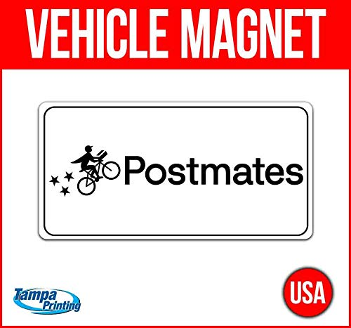 Postmates Vehicle Magnet, 30 mil Thick Magnetic Vinyl, Rounded Corners, Advertising Magnet, Removable, Car Magnet, Truck Magnet, Fleet Magnet, Flexible, New, Advertising, USA