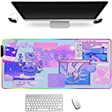 Gaming Mouse Pads Kawaii Large Extended RGB Mouse Pad Purple Pink Blue Cute Gaming Accessories Glowing LED Computer Desk Mat Protector Pc Keyboard Mat for Laptop Gamer Office Home 800x400x4Mm XL