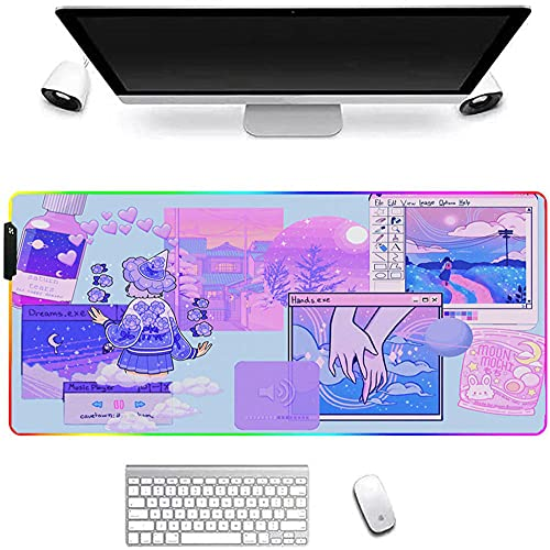 Gaming Mouse Pads Kawaii Large Extended RGB Mouse Pad Purple Pink Blue Cute Gaming Accessories Glowing LED Computer Desk Mat Protector Pc Keyboard Mat for Laptop Gamer Office Home 600x300x4Mm