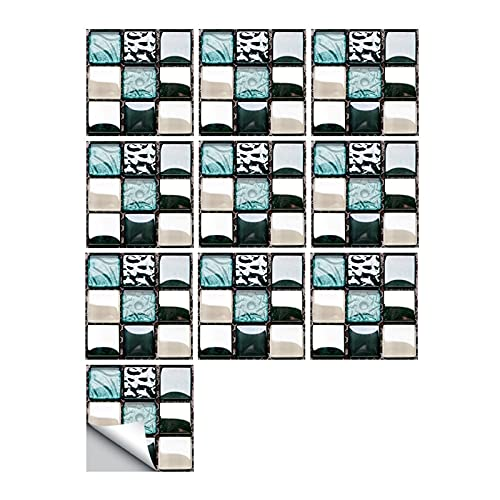 ESORST 10 unids Simulación Plana Mosaico Mosaico Pegatina de Pared Traslados Cubiertas Impresas para el Papel Tapiz de Armario de Cocina Impermeable (Color : Y, Size : 10cmX10cmX10pcs)