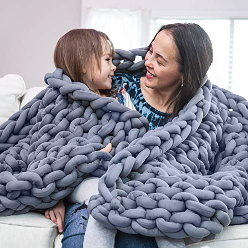 Roore Gray 50'x70' Cotton Chunky Knit Blanket - Braided Thick Cotton Hollow Filled Tube Perfect Home Decore for The Bed, Couch, Sofa, Chair, and Living Room.