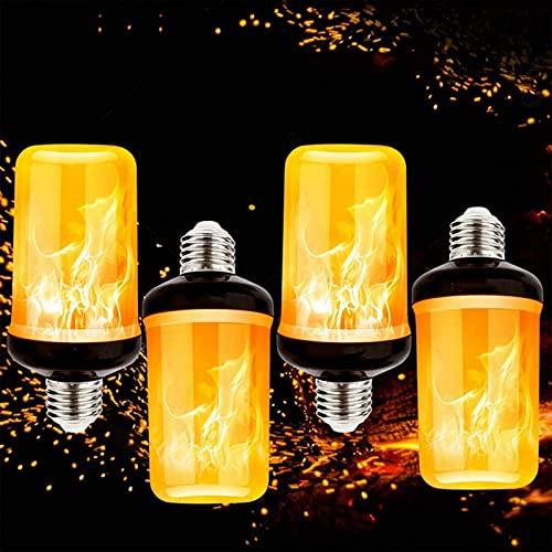 YQGOO Bombillas de luz LED con Efecto de Llama Amarilla cálida, 7w E27 Lámpara de Llamas de Fondo Negro, Bombillas Retro con Parpadeo de 4 Modos, para decoración Vintage Interior y Exterior