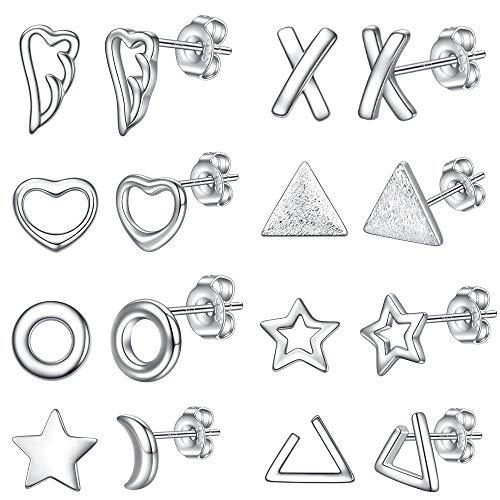 VQYSKO - 8 orecchini da bambina a forma di ali d'angelo, X, cuore, cerchio, stella, luna, triangolare, placcati in argento 925, misura 1 cm (con scatola) e Rame, colore: Style A - 8 Paires, cod. EUSET