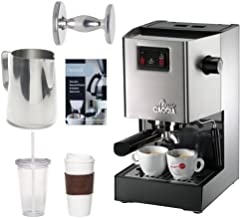Gaggia Classic Semi-Automatic Espresso Maker. Pannarello Wand for Latte and Cappuccino Frothing. Brews for Both Single and Double Shots. w/ 20-oz. Frothing Pitcher & Coffee Accessory Bundle