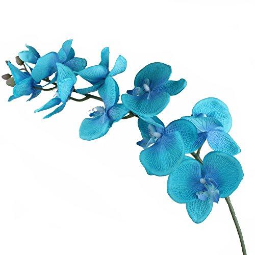 Yalulu 2 Stück Orchidee Künstliche Simulation Schmetterling Orchideen Blüte Blumen Hochzeit Haus Partei Home Deko (Blau)