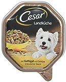 Pâtée pour chien Cesar gamme Landküche - Poulet et légumes - Lot de 2 paquets de 7 boîtes de 150 g chacune