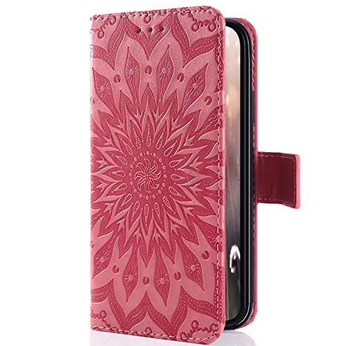 Uposao Coque iPhone 7 Plus/ 8 Plus Housse en PU Pochette Portefeuille Cuir Coque Protection Etui Flip Cover Clapet Complet Coque a Rabat 3D Mandala Motif Housse Coquille pour iPhone 7/8 Plus,Rose