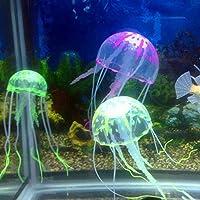 ペット ニューフィッシュタンク水族館造園非有毒なカラフルなシミュレーションクラゲの装飾の装飾品 (Color : Random Color)