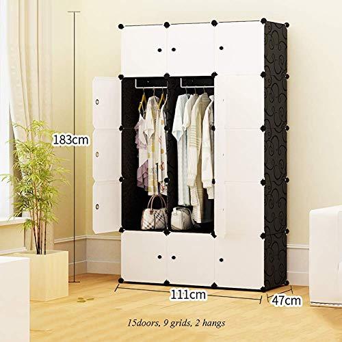 ZLMI Simple Armoire Simple Moderne Assemblée Petite Armoire Chambre en Plastique Combinaison Rangement casier,111 * 47 * 165CM