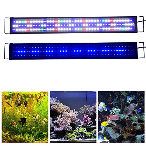 "KZKR Upgraded Aquarium LED Light Full Spectrum 36""-48"" Hood Lamp for Freshwater Marine Plant Multi-Color Decorations Light 90cm - 120cm"