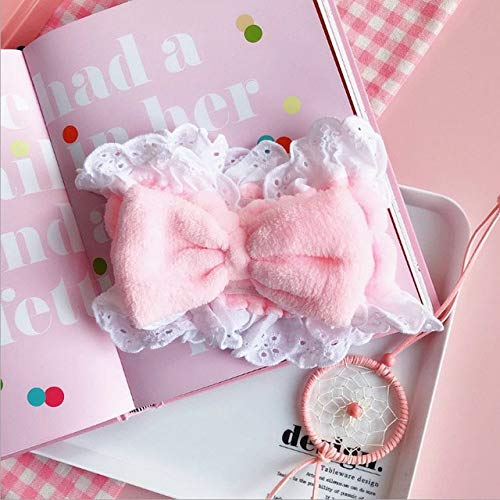 8 PcsWomen's Cute Fashion Girls Wash Makeup Headband Children Kids Hair Band Bow Stretch Hair Band Hair Accessories Gite Gift Pink bow