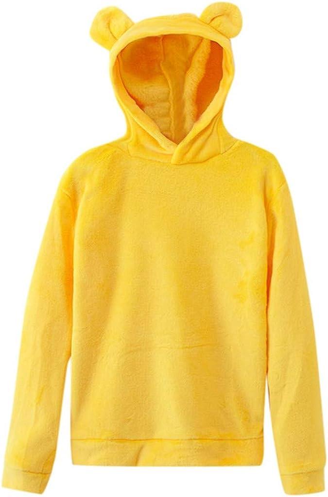 Girls' Hoodie, Misaky Casual Solid Color Fuzzy Fleece Panda Hood Long Sleeve Pullover Sweatshirt Jumper Blouse