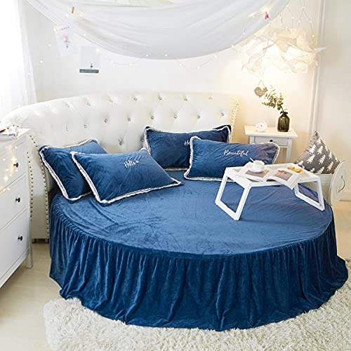 CYYyang Protector de colchón/Cubre colchón Acolchado, Ajustable y antiácaros. Falda de Cama Redonda de Felpa-Falda de Cama Azul_1.8m