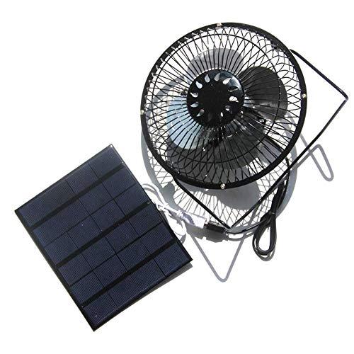 Ventilador de 3 W 6 V con panel solar para camping, caravana, yate, invernadero, casa de perro, pollo, casa ventilador