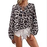 PKYGXZ Camiseta con Cuello en V a la Moda para Mujer, Camiseta Retro con Estampado de Leopardo, Linterna de Manga Larga, Camisa de Gasa, Jersey Informal, Blusa Suelta