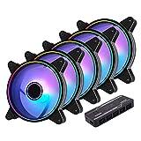 EZDIY-FAB 120mm 月光タイプケースファン,PWM対応 ファン,アドレサブル RGB 調節機能搭載 静音pwmタイプ,ファンハブ付き, マザーボード同期, ASUS Aura Syncに対応- 5本1セット