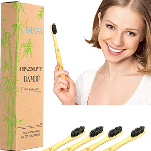 4 Spazzolini Bamboo Biodegradabili  Spazzolino Bamboo in Legno, Naturale, Vegano, setole medie morbide al Carbone Attivo di Bambu, anche per Bambini