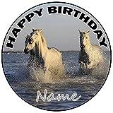 AK Giftshop Decoración para tarta de cumpleaños de caballos personalizable, redonda, 20 cm, cualquier edad y nombre