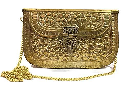 Gannu Clutch de metal de latón hecho a mano bolso nupcial para niña Artículo de regalo para fiesta de mujer Bolso cruzado étnico antiguo (Dorado)